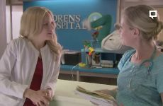Malin Akerman Kiss With Zandy Hartig In 'Childrens Hospital'