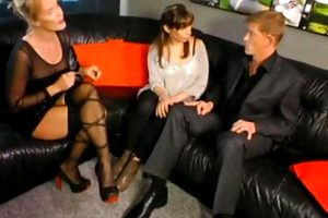 naughty young couple having sex in front of sexy busty milf